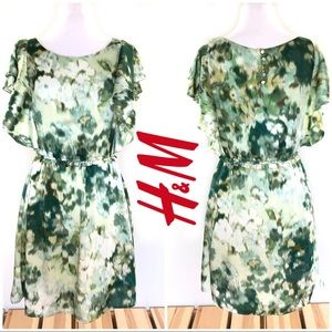 H&M Summer Watercolor Abstract Mini Flutter Sleeve